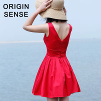 Dress Summer of 2018 Red and black XS S M L Short skirt singleton  Sleeveless commute middle-waisted other A-line skirt 25-29 years old Origin sense / gate of perception lady More than 95% polyester fiber Polyester 100% Pure e-commerce (online only)