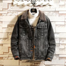 Jacket Seven degrees extraordinary Youth fashion M L XL 2XL 3XL 4XL 5XL Plush and thicken Self cultivation Other leisure winter Cotton 85% polyurethane elastic fiber (spandex) 15% Long sleeves Wear out Lapel tide youth routine Single breasted Cloth hem No iron treatment Loose cuff Solid color Denim