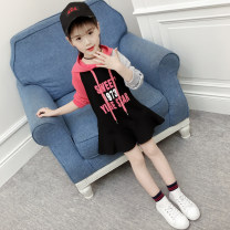 Dress Black and white female 110 [recommended height 105 cm] 120 [recommended height 115 cm] 130 [recommended height 125 cm] 140 [recommended height 135 cm] 150 [recommended height 145 cm] 160 [recommended height 155 cm] spring and autumn Korean version Long sleeves Solid color cotton Lotus leaf edge