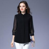 Women's large Fall 2017 shirt singleton  easy thin Cardigan three quarter sleeve Solid color Crew neck Medium length polyester shirt sleeve Medin  Polyester 99% other 1%