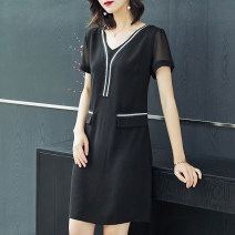 Women's large Summer of 2019 black Dress commute easy thin Short sleeve Korean version V-neck polyester Three dimensional cutting routine Medin  Medium length Polyester 100% Pure e-commerce (online only) other