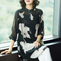 Women's large Autumn of 2018 Ink printing shirt singleton  commute easy thin Socket three quarter sleeve Abstract pattern literature Medium length Three dimensional cutting Medin  40-49 years old Resin fixation Polyester 96% other 4% Pure e-commerce (online only) bow