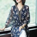 Women's large Summer of 2019 Blue apricot Oversize XL [suggest 120-135 kg] oversize 2XL [135-150 kg] oversize 3XL [150-165 kg] oversize 4XL [165-180 kg] oversize 5XL [175-200 kg] shirt singleton  commute easy thin Socket three quarter sleeve Broken flowers Korean version V-neck Medium length MTSA742