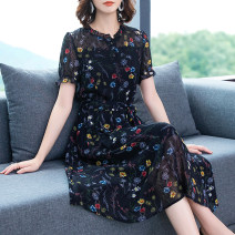 Women's large Summer 2020 Black long sleeves Large L Large XL Large 2XL large 3XL large 4XL large 5XL Dress singleton  commute easy moderate Socket Short sleeve Korean version Crew neck Three dimensional cutting routine Medin  Three dimensional decoration 96% and above Medium length Polyester 100%