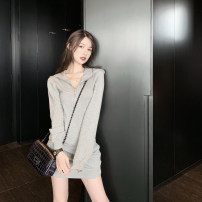 Dress Spring 2020 grey S spot, m spot, l spot, s pre-sale 4.19, m pre-sale 4.19, l pre-sale 4.19 Short skirt singleton  Long sleeves street Hood High waist Solid color Socket A-line skirt routine Others Pocket, panel, zipper More than 95% other cotton Europe and America