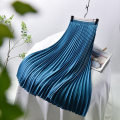 skirt Spring of 2018 longuette Retro Natural waist Pleated skirt Solid color Type A More than 95% other Lace girl polyester fiber fold 201g / m ^ 2 (including) - 250G / m ^ 2 (including)