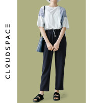Casual pants Navy Blue S M L XL Summer of 2019 Ninth pants Straight pants Natural waist commute routine 25-29 years old 96% and above 92K0851 cloudspace literature Polyester 100%