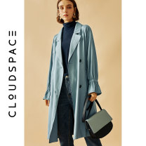 Windbreaker Autumn of 2019 S M L XL Haze blue Long sleeves routine Medium length commute double-breasted tailored collar routine Solid color Straight cylinder literature cloudspace 93F4535 25-29 years old 30% and below polyester fiber Viscose (viscose) 92.1% polyester 7.9%