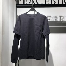 T-shirt Fashion City grey routine S 165/84,M 170/88,L 175/92,XL 180/96,2XL 185/100,3XL 185/104 Peacebird Long sleeves Crew neck easy Other leisure spring B2DCB1225 Cotton 100% youth routine Youthful vigor 2021 Solid color cotton Domestic famous brands More than 95%
