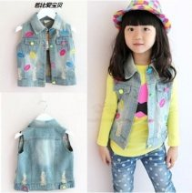 Vest female Regular autumn denim 90cm (7), 100 (9), 110 (11), 120 (13), 130cm (15), 140 (17) spring and autumn Thin money There are models in the real shooting Single breasted leisure time Denim Cartoon animation Cotton 95% other 5% MJ2003 Class A other Cotton liner