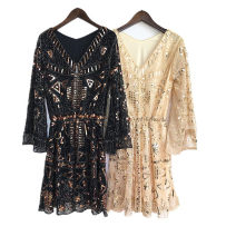 Dress Autumn 2020 Pure black, black gold, Gold Beige, white gold The average size is the same as the actual picture Middle-skirt singleton  Nine point sleeve commute V-neck Elastic waist Abstract pattern Socket Big swing pagoda sleeve Others Type A Korean version More than 95%
