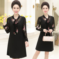 Middle aged and old women's wear Spring of 2019 black XL XXL XXXL 4XL fashion Dress easy singleton  Decor 40-49 years old Socket moderate Crew neck routine YZR6798QZ19 Velvet of clothing Bandage other Other 100% 96% and above Same model in shopping mall (sold online and offline)