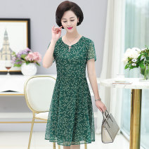 Middle aged and old women's wear Summer of 2019 Green red blue 7399 red 7399 blue XL XXL XXXL 4XL 5XL fashion Dress easy Decor 40-49 years old thin routine YZR7456QZ19 Velvet of clothing Gauze other Other 100% 96% and above Same model in shopping mall (sold online and offline) Middle-skirt