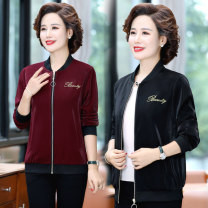 Middle aged and old women's wear Autumn 2020 Red and black XL XXL XXXL 4XL 5XL fashion Jacket / jacket Straight cylinder singleton  letter 40-49 years old Cardigan moderate stand collar Medium length (length 50-70cm) routine YZR13394WT20 Velvet of clothing pocket other Other 100% 96% and above zipper