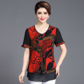 Middle aged and old women's wear Summer of 2018 XL2XL3XL4XL5XL Red yellow fashion T-shirt easy singleton  other 40-49 years old Socket moderate Crew neck Medium length other YZR4613TX18 Velvet of clothing fold Other 100% Pure e-commerce (online only) Short sleeve