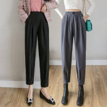 Casual pants Black grey Khaki S M L Autumn 2020 Ninth pants Haren pants High waist Versatile routine 25-29 years old 0901-08 Malsekaka Other polyester 95% 5% Pure e-commerce (online only)