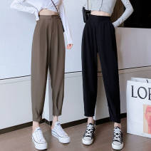 Casual pants Black card black [Plush] S M L XL Autumn 2020 Ninth pants Haren pants High waist commute routine 25-29 years old 0803-012 Malsekaka Korean version Other polyester 95% 5% Pure e-commerce (online only)