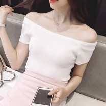 T-shirt White, black S,M,L,XL,2XL Summer of 2018 Short sleeve One word collar Self cultivation Regular routine commute cotton 86% (inclusive) -95% (inclusive) 18-24 years old Korean version classic Solid color Other / other