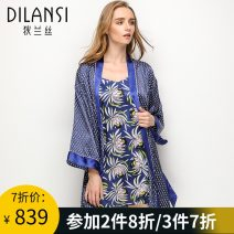 Pajamas / housewear set female Dylan 160(M) 165(L) 170(XL) Flower language silk Long sleeves Simplicity pajamas spring routine V-neck Plants and flowers Tether youth 2 pieces More than 95% silk printing D8076-2 200g and below Mulberry silk 100% Spring of 2018 Short skirt