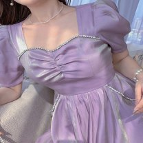 Dress Summer 2021 Glass purple, glass purple long style S,M,L,XL Mid length dress singleton  Short sleeve commute square neck High waist Solid color zipper A-line skirt puff sleeve Others 25-29 years old Type A Other / other lady 31% (inclusive) - 50% (inclusive) other other