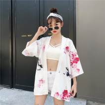 short coat Summer of 2019 Average size White, black three quarter sleeve Medium length routine singleton  easy Versatile routine Crew neck Frenulum 18-24 years old Other / other 96% and above printing polyester fiber