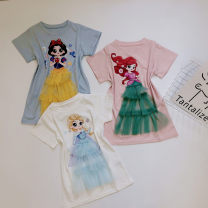 Dress White, pink, light blue, pure cotton, soft and elastic, no pilling! female Other / other 90cm,100cm,110cm,120cm,130cm,140cm Other 100% summer leisure time Short sleeve Cartoon animation other Fluffy skirt Class B Chinese Mainland
