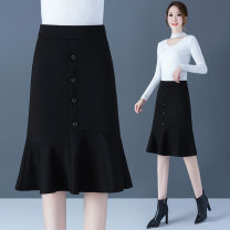 skirt Autumn 2020 S/26,M/27,L/28,XL/29,XXL/30,XXXL/31,XXXXL/32 Black, gray Mid length dress commute High waist Ruffle Skirt Solid color 25-29 years old YNF-A15-L 31% (inclusive) - 50% (inclusive) other Other / other nylon Korean version