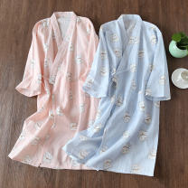 Nightgown / bathrobe Other / other female M, l Pink cat, blue cat Thin money Simplicity cotton summer More than 95% Medium length (knee to Mid Calf) Cartoon animation youth