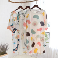 Nightdress Other / other White radish, yellow radish, colorful space, ink house, colorful space, colorful beauty, letter cake, colorful fruit, starfish shell M, l Simplicity Short sleeve Leisure home Middle-skirt summer Plants and flowers youth Crew neck cotton More than 95% pure cotton