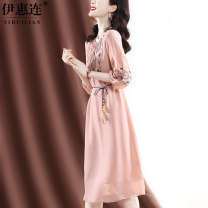 Dress Spring 2021 Pink Blue M L XL XXL Mid length dress singleton  Long sleeves commute Crew neck middle-waisted Solid color Socket A-line skirt routine Others 30-34 years old Type A Yihl / yihuilian lady bow QS87537 More than 95% silk Mulberry silk 100% Pure e-commerce (online only)