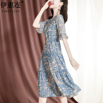 Dress Spring 2021 sky blue M L XL XXL 3XL Mid length dress singleton  Short sleeve commute V-neck middle-waisted Decor Socket A-line skirt pagoda sleeve Others 30-34 years old Type A Yihl / yihuilian lady Stitched lace print SM82193093 More than 95% silk Mulberry silk 100%