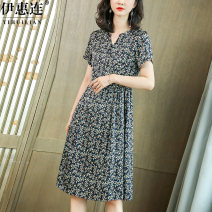 Dress Summer 2020 Floral  L XL XXL 3XL Mid length dress singleton  Short sleeve commute V-neck middle-waisted Broken flowers Socket A-line skirt routine Others 30-34 years old Type A Yihl / yihuilian lady Pin bead printing AS206 91% (inclusive) - 95% (inclusive) silk Pure e-commerce (online only)