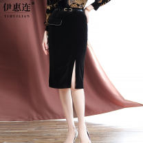 skirt Autumn 2020 M L XL XXL 3XL black Mid length dress commute High waist skirt Solid color 30-34 years old BNMF2036 91% (inclusive) - 95% (inclusive) Yihl / yihuilian polyester fiber belt lady Polyester 95% polyurethane elastic fiber (spandex) 5% Exclusive payment of tmall