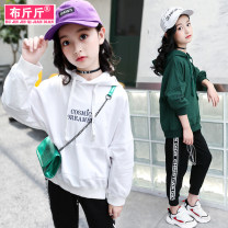 T-shirt White (small letter coat) green (small letter coat) white (elastic pants) black (elastic pants) Weight of cloth 120cm 130cm 140cm 150cm 160cm female spring and autumn Long sleeves Crew neck Korean version There are models in the real shooting No detachable cap cotton Solid color Other 100%