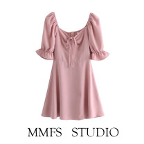 Dress Spring 2021 Purple, blue, pink S,M,L Middle-skirt singleton  Short sleeve street V-neck Solid color Socket puff sleeve 71% (inclusive) - 80% (inclusive) polyester fiber Europe and America