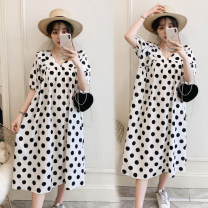 Women's large Summer 2021 Picture color Large L (100-125 kg recommended), large XL (125-150 kg recommended), large 2XL (150-170 kg recommended), large 3XL (170-190 kg recommended) Dress singleton  commute easy thin Socket Short sleeve Dot Korean version V-neck Medium length other 25-29 years old