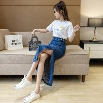 skirt Spring 2021 S,M,L,XL Light blue skirt, dark blue skirt longuette commute High waist Denim skirt Solid color Type A 18-24 years old W Denim cotton pocket Korean version