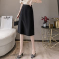 skirt Summer 2021 S,M,L,XL,XXL Black, yellow, apricot Mid length dress Versatile High waist A-line skirt Solid color Type A 18-24 years old K16