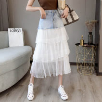 skirt Spring 2021 S,M,L,XL,2XL Denim white mesh, denim wave point mesh Mid length dress commute High waist A-line skirt Solid color Type A 18-24 years old Y-34 51% (inclusive) - 70% (inclusive) Korean version