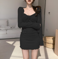 Dress Autumn 2020 black S,M,L Short skirt Two piece set Long sleeves street square neck High waist Decor Socket One pace skirt routine camisole 18-24 years old Type H SSS4790W0G 51% (inclusive) - 70% (inclusive) other cotton Europe and America
