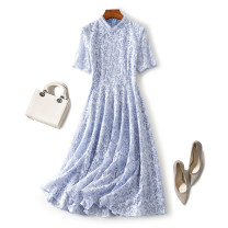 Dress Spring 2020 Blue, apricot S,M,L,XL Mid length dress singleton  Short sleeve commute stand collar High waist Solid color zipper A-line skirt routine Type A LUKWING lady Zipper, lace 51% (inclusive) - 70% (inclusive) Lace nylon