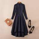 Dress Spring 2021 dark blue S,M,L,XL,2XL Mid length dress singleton  Nine point sleeve commute V-neck middle-waisted Solid color zipper Irregular skirt routine Others Type A LUKWING Ol style Pocket, lace up, button, zipper 1009232Y 51% (inclusive) - 70% (inclusive)