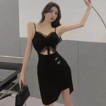Dress Summer 2021 black Average size Short skirt singleton  Sleeveless commute V-neck High waist Solid color Socket Pencil skirt other camisole 18-24 years old Type H Korean version Bows, hollows, folds, stitches, gauze other cotton