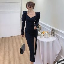 Dress Spring 2021 black S,M,L Mid length dress singleton  Long sleeves commute square neck High waist Solid color One pace skirt routine Others Type H Other / other lady other