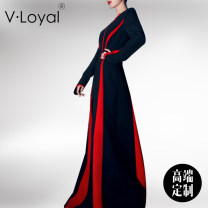 Dress Spring 2021 black S M L XL longuette singleton  Long sleeves street Crew neck High waist Solid color Socket Big swing routine 30-34 years old Type X V·Loyal Splicing asymmetry VH-20015 More than 95% polyester fiber Polyester 95% polyurethane elastic fiber (spandex) 5% Europe and America
