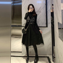 Dress Autumn of 2019 Black top + suspender dress Plush sweater + suspender dress S M L XL 2XL Mid length dress Two piece set Long sleeves commute Crew neck High waist Solid color Socket A-line skirt routine Others 18-24 years old Yongnai Korean version PYE9861 More than 95% polyester fiber
