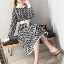 Dress Autumn 2020 lattice S M L XL longuette singleton  Long sleeves commute High collar High waist lattice Big swing bishop sleeve 35-39 years old Type A Leather is the most beautiful Korean version Bandage GS801076L More than 95% other other Other 100% Pure e-commerce (online only)
