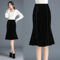 skirt Winter 2020 M,L,XL,2XL,3XL,4XL black Versatile Natural waist Solid color Type H Jasper rose