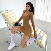 Dress Winter 2020 Khaki, black S, M Short skirt singleton  Long sleeves street Crew neck High waist Solid color Socket One pace skirt routine Others 25-29 years old Type X 51% (inclusive) - 70% (inclusive) knitting other Europe and America