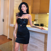 Dress Winter 2020 black S,M,L Short skirt singleton  Sleeveless street High waist Solid color zipper One pace skirt Breast wrapping 25-29 years old Type X backless 51% (inclusive) - 70% (inclusive) other other Europe and America